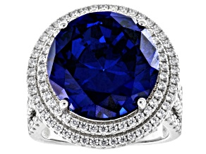 Blue And White Cubic Zirconia Rhodium Over Sterling Silver Ring 23.37ctw