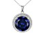 Blue And White Cubic Zirconia Rhodium Over Sterling Silver Pendant With Chain 22.84ctw