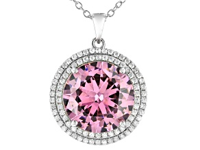 Pink And White Cubic Zirconia Rhodium Over Sterling Silver Pendant With Chain 22.56ctw