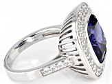 Blue And White Cubic Zirconia Rhodium Over Sterling Silver Ring 12.96ctw