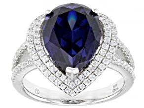 Blue And White Cubic Zirconia Rhodium Over Sterling Silver Ring 8.94ctw
