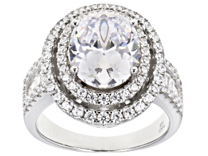White Cubic Zirconia Rhodium Over Sterling Silver Ring 7.29ctw