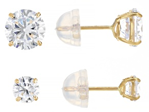 White Cubic Zirconia 14K Yellow Gold Stud Earring Set 2.50ctw