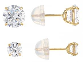White Cubic Zirconia 14K Yellow Gold Stud Earring Set 2.50ctw