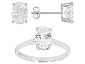 White Cubic Zirconia Rhodium Over Sterling Silver Ring And Earrings 6.18ctw