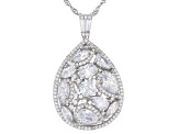 White Cubic Zirconia Rhodium Over Sterling Silver Pendant With Chain 7.91ctw