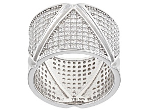 White Cubic Zirconia Rhodium Over Sterling Silver Band Ring 3.67ctw