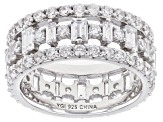 White Cubic Zirconia Rhodium Over Sterling Silver Band Ring 5.80ctw
