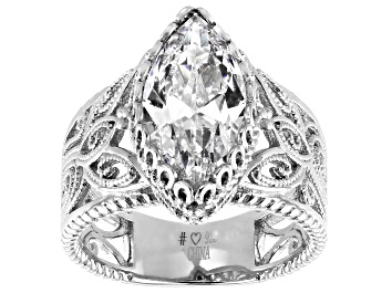 Picture of White Cubic Zirconia Rhodium Over Sterling Silver Ring 6.25ctw