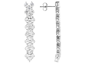 White Cubic Zirconia Rhodium Over Sterling Silver Dangle Earrings 8.40ctw