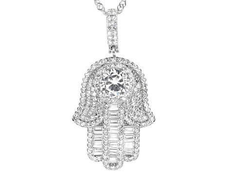 White Cubic Zirconia Rhodium Over Sterling Silver Hamsa Pendant With Chain 3.20ctw