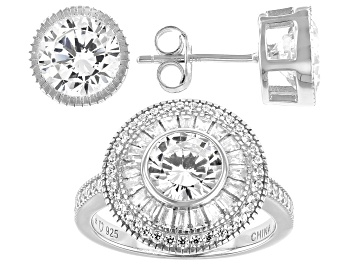 Picture of White Cubic Zirconia Rhodium Over Sterling Silver Ring And Earring Set 6.50ctw