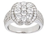 White Cubic Zirconia Rhodium Over Sterling Silver Ring 3.15ctw