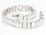 White Cubic Zirconia Rhodium Over Sterling Silver Tennis Bracelet 40.00ctw