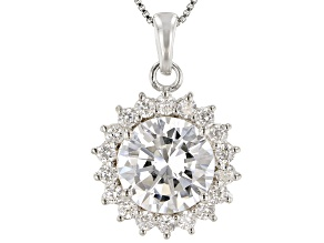 White Cubic Zirconia Rhodium Over Sterling Silver Pendant With Chain 7.19ctw