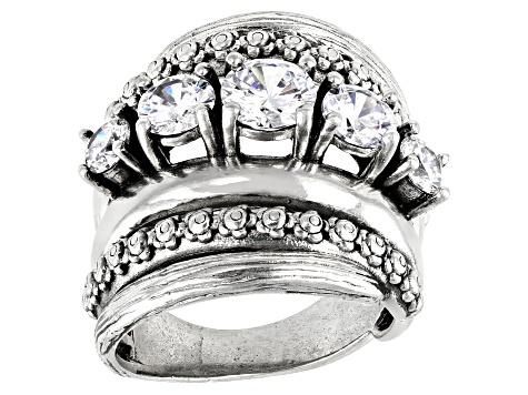 White Cubic Zirconia Rhodium Over Sterling Silver Ring 3 78ctw Dob135 Jtv Com