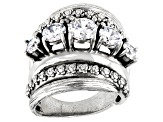 White Cubic Zirconia Rhodium Over Sterling Silver Ring 3.78ctw