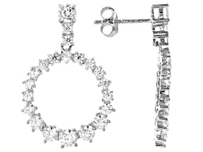 White Cubic Zirconia Rhodium Over Sterling Silver Earrings 4.50ctw