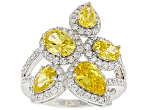 Yellow And White Cubic Zirconia Rhodium Over Sterling Silver Ring 6.15ctw