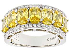 Yellow And White Cubic Zirconia Rhodium Over Sterling Silver Ring 3.92ctw
