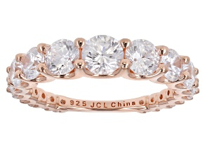 White Cubic Zirconia 18k Rose Gold Over Sterling Silver Band Ring 3.00ctw
