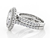 White Cubic Zirconia Rhodium Over Sterling Silver Ring With Band 5.82ctw