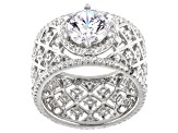 White Cubic Zirconia Rhodium Over Sterling Silver Ring 6.00ctw