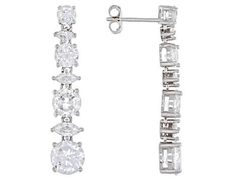 White Cubic Zirconia Rhodium Over Sterling Silver Dangle Earrings 9.00ctw