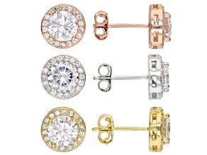 White Cubic Zirconia Rhodium Over Silver And 18k Yellow And Rose Gold Over Silver Earrings Set
