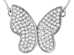 White Cubic Zirconia Rhodium Over Sterling Silver Butterfly Necklace 1.53ctw