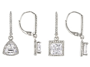 White Cubic Zirconia Rhodium Over Sterling Silver Earrings Set 11.00ctw