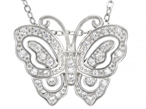 White Cubic Zirconia Rhodium Over Sterling Silver Butterfly Pendant With Chain 0.44ctw