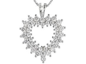White Cubic Zirconia Rhodium Over Sterling Silver Heart Pendant With Chain 1.72ctw
