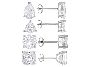 White Cubic Zirconia Rhodium Over Sterling Silver Earrings- Set of 4 13.10ctw