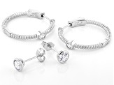 White Cubic Zirconia Rhodium Over Sterling Silver Hoop And Stud Earring Set 1.94ctw