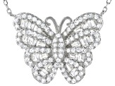 White Cubic Zirconia Rhodium Over Sterling Silver Butterfly Necklace 1.56ctw