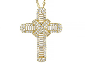 White Cubic Zirconia 18k Yellow Gold Over Sterling Silver Cross Pendant With Chain