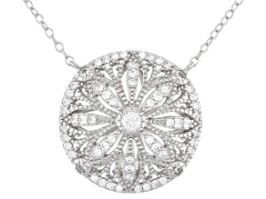 White Cubic Zirconia Rhodium Over Sterling Silver Flower Necklace 0.72ctw