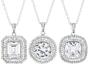 White Cubic Zirconia Rhodium Over Sterling Silver Pendants With Chain- Set of 3 17.45ctw