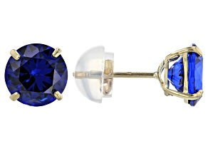 Blue Cubic Zirconia 10k Yellow Gold Stud Earrings 1.70ctw