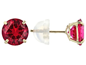 Red Ruby Simulant 10k Yellow Gold Stud Earrings 2.00ctw