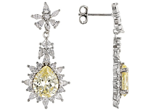 Yellow And White Diamond Simulant Rhodium Over Sterling Silver Earrings 8.80ctw
