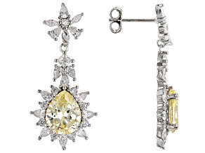 Yellow And White Cubic Zirconia Rhodium Over Sterling Silver Earrings 8.80ctw