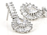 White Cubic Zirconia Rhodium Over Sterling Silver Dangle Earrings 3.14ctw