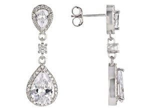 White Cubic Zirconia Rhodium Over Sterling Silver Dangle Earrings 8.25ctw DEW 4.82