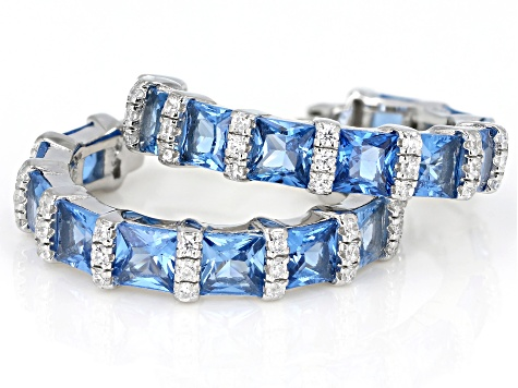 Blue And White Cubic Zirconia Rhodium Over Sterling Silver Hoop Earrings 8.13ctw