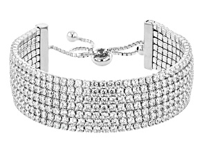 White Cubic Zirconia Rhodium Over Sterling Silver Adjustable Bracelet 10.29ctw