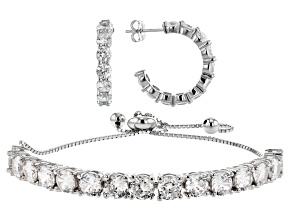 White Cubic Zirconia Rhodium Over Sterling Silver Hoop Earrings And Bracelet Set 9.32ctw
