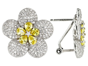 Yellow And White Cubic Zirconia Rhodium Over Sterling Silver Flower Earrings 4.15ctw