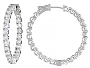 White Cubic Zirconia Rhodium Over Sterling Silver Inside Out Hoop Earrings 9.50ctw